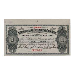 Newfoundland Government Cash Note. $1.00. 1906. NF-5fS. Specimen. PMG Superb Gem Unc-67 EPQ.