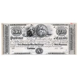 Province of Canada. $10.00. 185-. PC-UNL. A Black & White Face Proof, on card stock. PCGS graded Unc