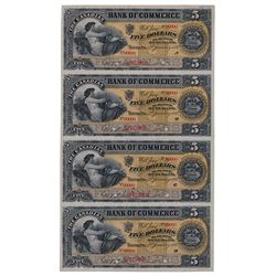 THE CANADIAN BANK OF COMMERCE. $5.00. Jan., 1892. CH-75-14-04S. An uncut sheet of four Specimen note