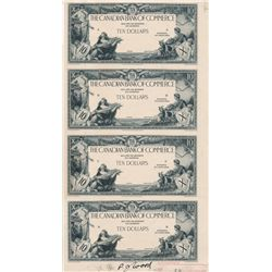 THE CANADIAN BANK OF COMMERCE. $10.00. 2nd. Jany. 1935. CH-75-18-06P. An uncut sheet of four Black a