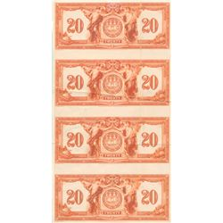 THE CANADIAN BANK OF COMMERCE. $20.00. 2nd. Jany. 1917. CH-75-16-02-08P. An uncut sheet of four Back