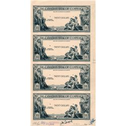 THE CANADIAN BANK OF COMMERCE. $20.00. 2ND. Jany, 1935. CH-75-18-10P. An uncut sheet of four Black a