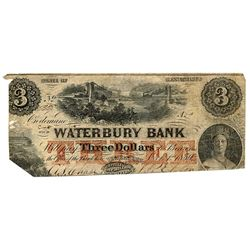 THE BANK OF CLIFTON. Altered to the Waterbury Bank. $3.00. CH-10-04-04 (Altered). No. 5338/A. A rare