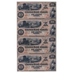 THE COLONIAL BANK OF CANADA. $10.00. 1859 Issue. CH-130-10-02-12P. An uncut sheet of four (4) Face P