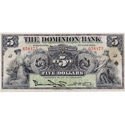 THE DOMINION BANK. $5.00. Jan. 2, 1925. CH-220-16-14. No. 658473. PMG graded Very Fine-25.