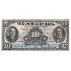 THE DOMINION BANK. $10.00. Feb. 1, 1931. CH-220-24-06. No. 004649/C. PMG graded Fine-12.