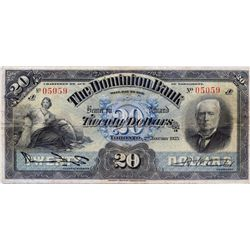 THE DOMINION BANK. $20.00. Jan. 2, 1925. CH-220-20-08. No. 05059/A. PMG graded Very Fine-20.
