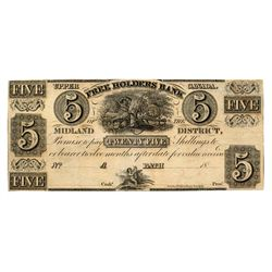 THE FREEHOLDERS BANK OF THE MIDLAND DISTRICT. $1.00. No date (c-1837). CH-310-10-02R. A Remainder. V