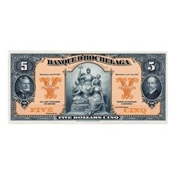 BANQUE D'HOCHELAGA. $5.00. Jan. 2, 1917. CH-360-24-02Pa. A Full Colour Face Proof. The Proof is also