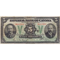 THE IMPERIAL BANK OF CANADA. $5.00. Nov. 1, 1923. CH-375-18-02. No. N443931/D. PMG graded Very Fine-