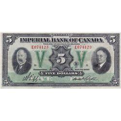 THE IMPERIAL BANK OF CANADA. $5.00. Nov. 1, 1933. CH-375-20-02. No. E074123/D. PMG graded EF-40.