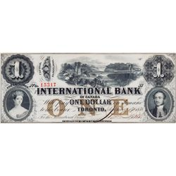 THE INTERNATIONAL BANK OF CANADA. $1.00. Sept. 15, 1858. CH-380-10-08-08. No. 15317/B. PMG graded Ge