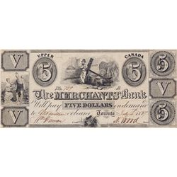 THE MERCHANTS BANK. $5.00. 1836-1837. CH-450-10-10. No. 729/A. PMG graded Choice Fine-15.