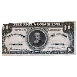 THE MOLSON BANK. $100.00. Jan. 2, 1914. CH-490-34-06P. Black and White Face and Back Proofs on thin