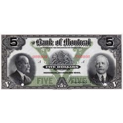 THE BANK OF MONTREAL. $5.00. Jan. 2, 1923. CH-505-56-02S. A Specimen. PCGS CH AU-58PPQ.