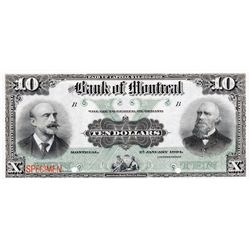 THE BANK OF MONTREAL. $10.00. Jan. 2, 1904. CH-505-48- 04S. A Specimen. PCGS graded UNC-64PPQ.