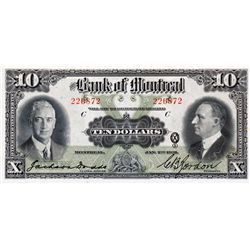 THE BANK OF MONTREAL. $10.00. Jan. 2, 1931. CH-505-58-04. No. 226872/C. PMG graded CH UNC-63, EPQ.