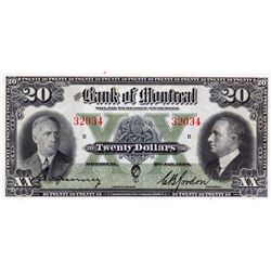 THE BANK OF MONTREAL. $20.00. Jan. 3, 1938. CH-505-62-08. No. 32034. PCGS graded CH UNC-63. PPQ.