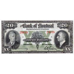 THE BANK OF MONTREAL. $20.00. Jan. 3, 1938. CH-505-62-06. CCCS graded Unc-60.