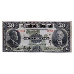 THE BANK OF MONTREAL. $50.00. Jan. 2, 1923. CH-505-56-08. No. 12997. PMG Very Fine-25.