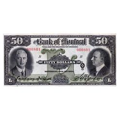 THE BANK OF MONTREAL. $50.00. Jan. 2, 1931. CH-505-58-08. No. 000801. PCGS graded AU-50.