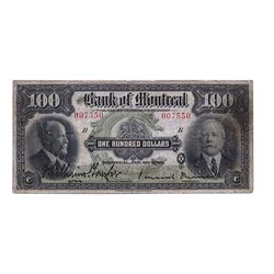 THE BANK OF MONTREAL. $100.00. Jan. 2, 1923. CH-505-56- 10. No. 007550/B. PMG graded Fine-12.