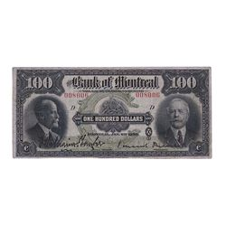 THE BANK OF MONTREAL. $100.00. Jan. 2, 1923. CH-505-56- 10. No. 008006/D. PMG graded Very Fine-20.