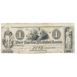 NEW CASTLE DISTRICT LOAN COMPANY. $1.00 (5 Shillings). 18--/A. CH-525-10-02R. A Remainder. PMG Fine-