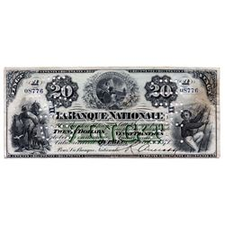LA BANQUE NATIONALE. $20.00. 2 October, 1871. CH-510-12-08a. No. 08776/A. Cancelled. 'XX…XX' overpri