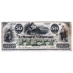 LA BANQUE NATIONALE. $50.00. 2 October, 1871. CH-510-12-10. No. 08307/A. Cancelled. 'XX…XX' overprin