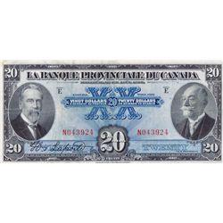 LA BANQUE PROVINCIALE DU CANADA. $20.00. 1 Aout, 1928. CH-615-14-18. No. N043924. PMG graded Very Fi