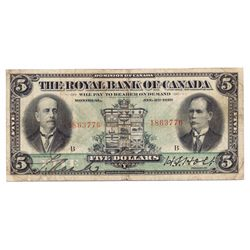 THE ROYAL BANK OF CANADA. $5.00. CH-630-12-02. No. 1863776/B. PMG graded Very Fine-20.