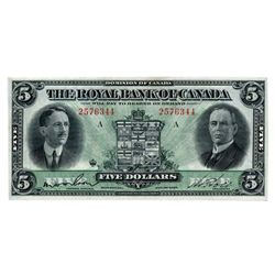 THE ROYAL BANK OF CANADA. $5.00. Jan. 3, 1927. CH-630-14-04. No. 2576344. PCGS graded AU-58PPQ. The