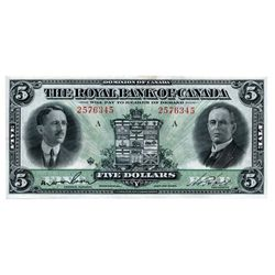 THE ROYAL BANK OF CANADA. $5.00. Jan. 3, 1927. CH-630-14-04. Wilson. Left. No. 257345/A. A well-cent