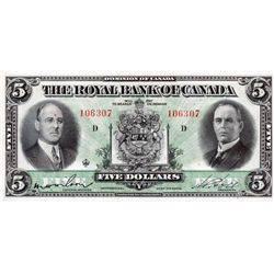 THE ROYAL BANK OF CANADA. $5.00. July 3, 1933. CH-630-16- 02. No. 106307/D. PMG graded EF-40.