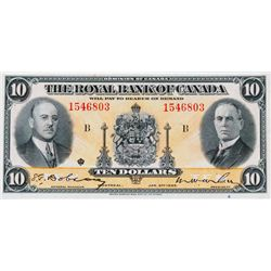 THE ROYAL BANK OF CANADA. $10.00. Jan. 2, 1925. CH-630- 18-04a. No. 1546803/D. PMG graded EF-45.