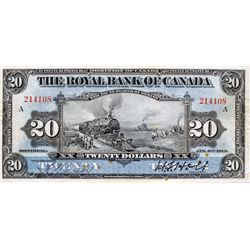 THE ROYAL BANK OF CANADA. $20.00. Jan. 2, 1913. CH-630- 12-10. No. 214108/A. PMG graded Very Fine-20
