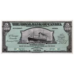 THE ROYAL BANK OF CANADA. St George's. Grenada. $5.00. Jan. 2, 1920. CH-630-48-02P. Full colour Face