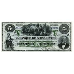 LA BANQUE DE ST. HYACINTHE. $5.00. July 1, 1880. CH-645-12-02R. A Remainder, with Serial number 3910