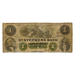 ST. STEPHENS BANK. $1.00. 1 Feb, 1886. CH-675-20-04-06. No. 38029/A. About Very Good.