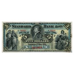 THE STANDARD BANK OF CANADA. $5.00. May 1, 1891. CH-695-14-02S. A Specimen. A choice example.