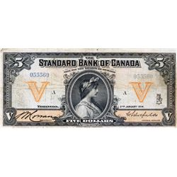 THE STANDARD BANK OF CANADA. $5.00. Jan. 2, 1914. CH-695-18-02. No. 055560/A. PMG Fine-15. Small int