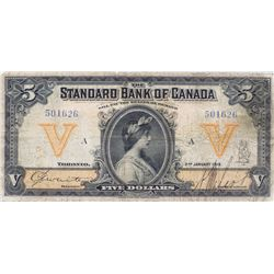 THE STANDARD BANK OF CANADA. $5.00. Jan. 2, 1919. CH-695-18-02. No. 501626/A. PMG graded Fine-12.