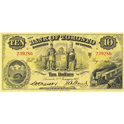 THE BANK OF TORONTO. $10.00. Jan. 2, 1937. CH-715-24-12. No. 239286/C. PMG Very Fine-35EPQ. The appe