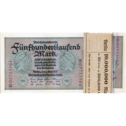 GERMANY. 500,000 Mark. Pick #88. 1 May, 1923. Inflation money. Lot of nineteen (19) notes, along wit