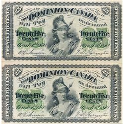25 CENTS. 1870. Letter 'B' below date. DC-1b. An uncut Pair. The top note with Large 'B', the lower