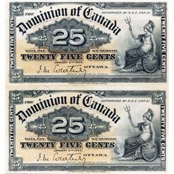 25 CENTS. Jan. 2, 1900. DC-15a. Courtney. An Uncut Pair. Bright Very Fine.