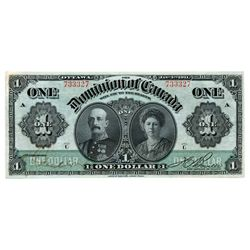 $1.00. Jan. 3, 1911. DC-18a. No. 733327/A. Series 'C'. Green line. Boville. Extra Fine.