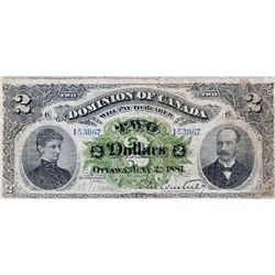 $2.00. July 2, 1887. DC-11. No. 153867/C. Plain. PMG graded Very Good-10.