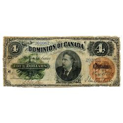 $4.00. May 1, 1882. DC-10. No. 201062. Small edge tears on the left margin and a few tears in the bo